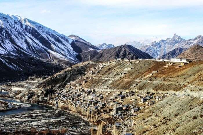 A view of Kargil town in winter