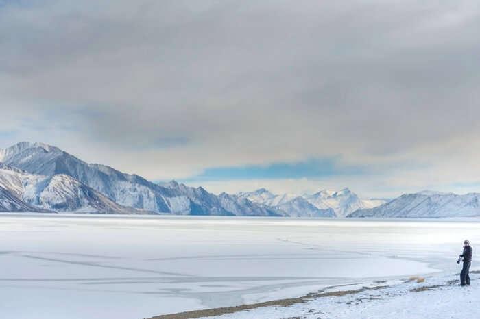 A frozen Pangong Tso lake in Leh-Ladakh in December