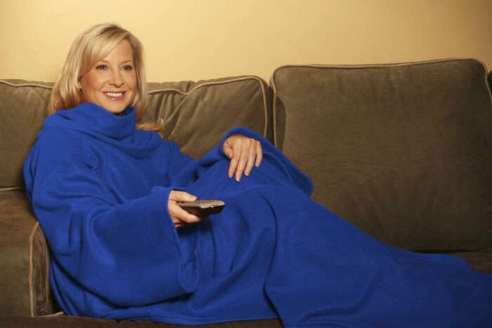 A woman wearing a slanket