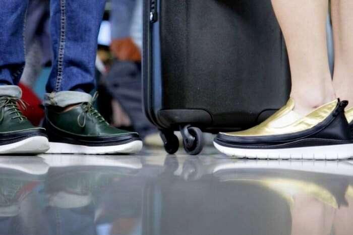 Travelers wearing the modular tech travel shoes