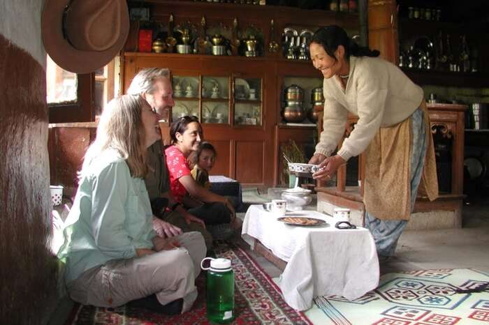 Localites treating guests with utmost hospitality at a homestay in Ladakh
