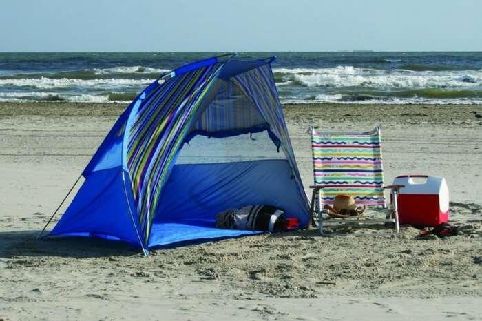 An umbrella tent on the beach