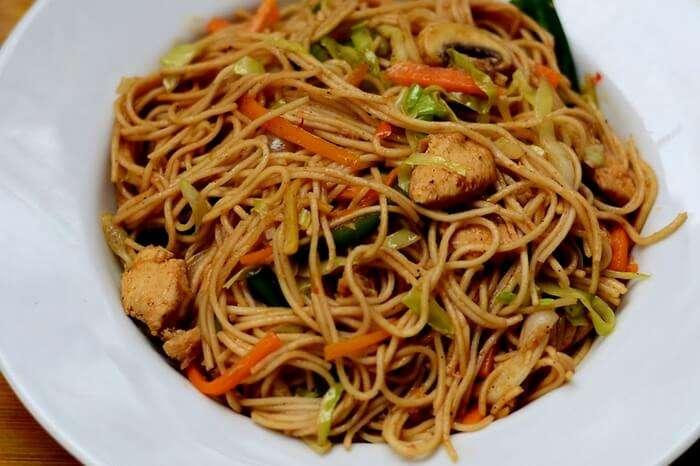 A platter of chicken noodles at Golden Point Tea & Snacks