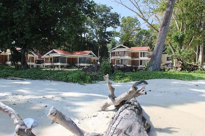 View of Dolphin Resort from Vijaynagar Beach in Havelock