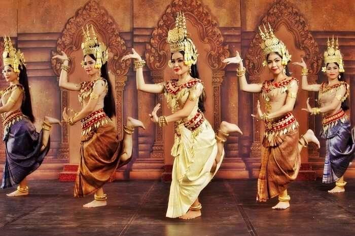 Beautiful dancers perform the classical Apsara Dance in Phnom Penh