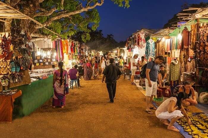 The bustling Arpora Saturday Night Market in Goa