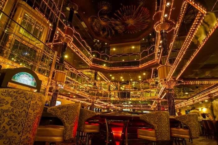 The casino tables and interiors of the Casino Pride in Goa