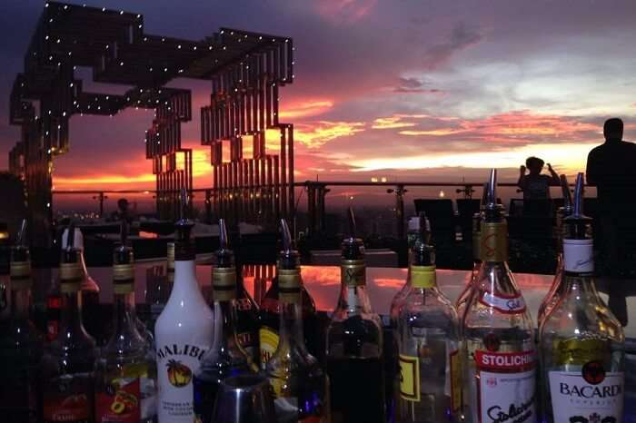 A late evening shot of the Eclipse Sky Bar and the beautiful evening sky in the backdrop