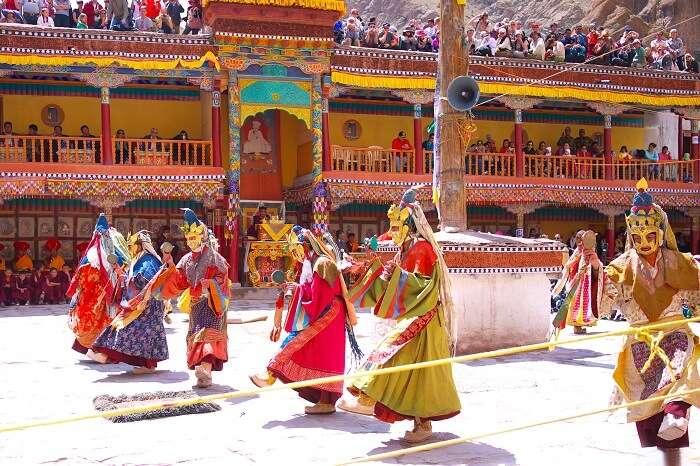 Lamas perform mystic mask dances in Hemis Festival at Hemis Monastery