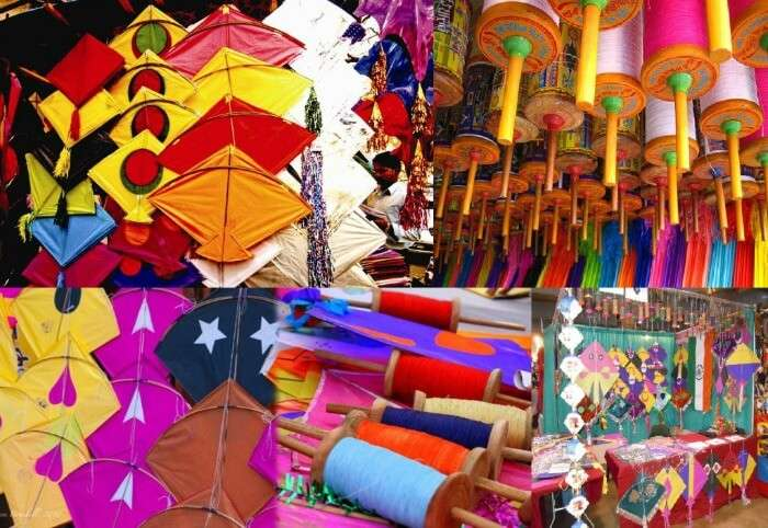 Colorful kites all across the bazaars in Jaipur