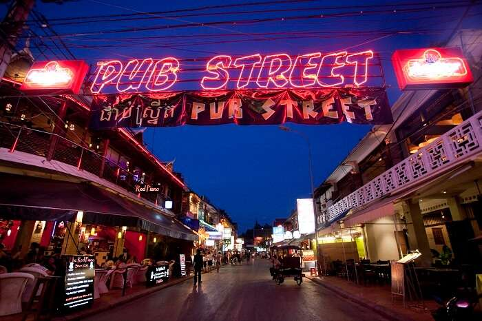 A night shot of the famous pub street that is popular for its nightlife scene