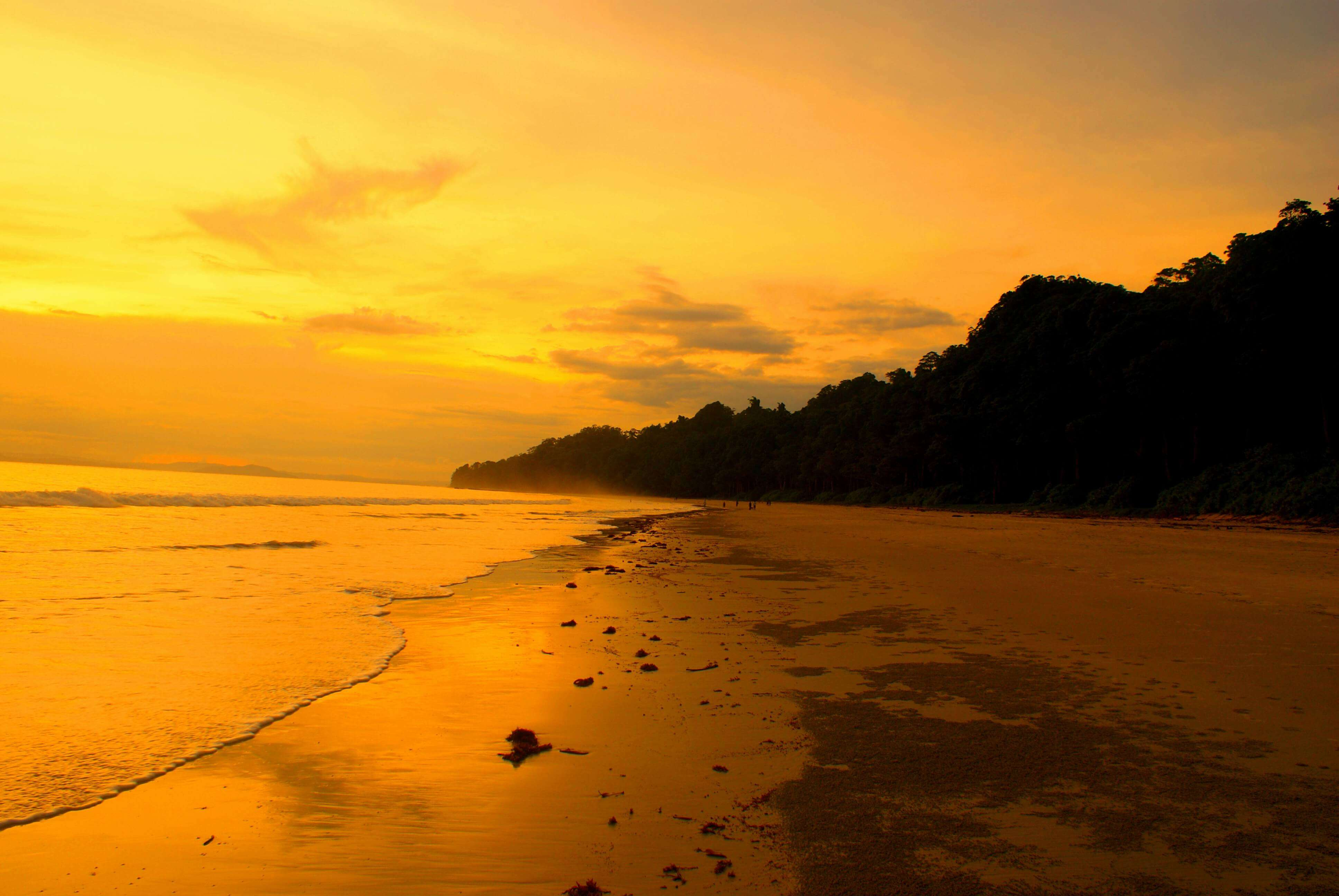 beautiful sunset at Radhanagar beach in Havelock