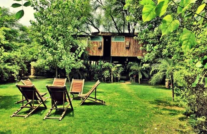 A camping spot outside the Tree House Resort