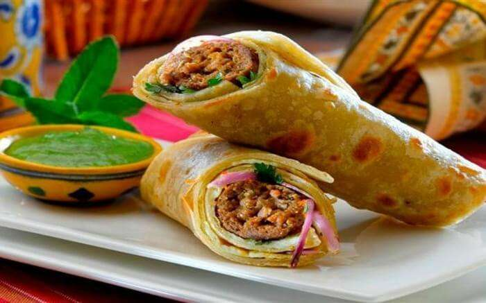 A popular street food in Kolkata - Kathi rolls placed on a plate