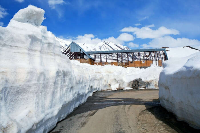 A path cut out of snow near Rohtang Pass