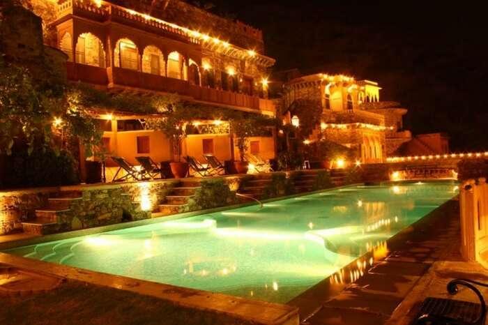Glittering pool overlooking Neemrana Fort Palace
