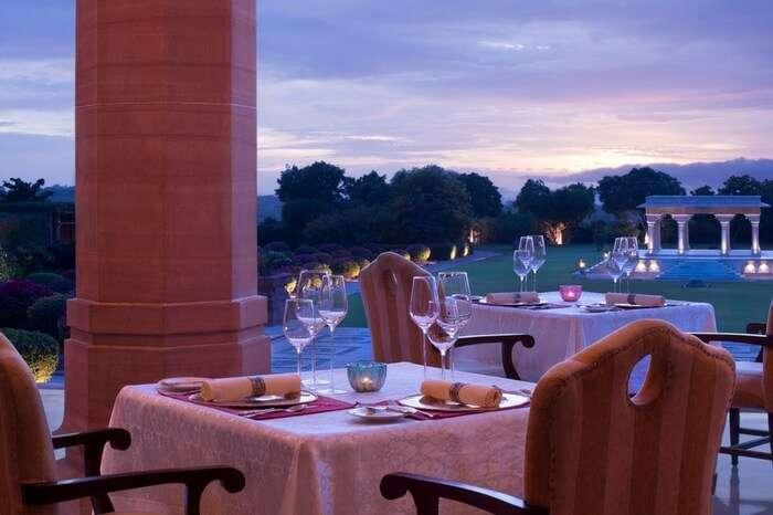 Restaurant at Umaid Bhawan Palace in Jodhpur at dusk