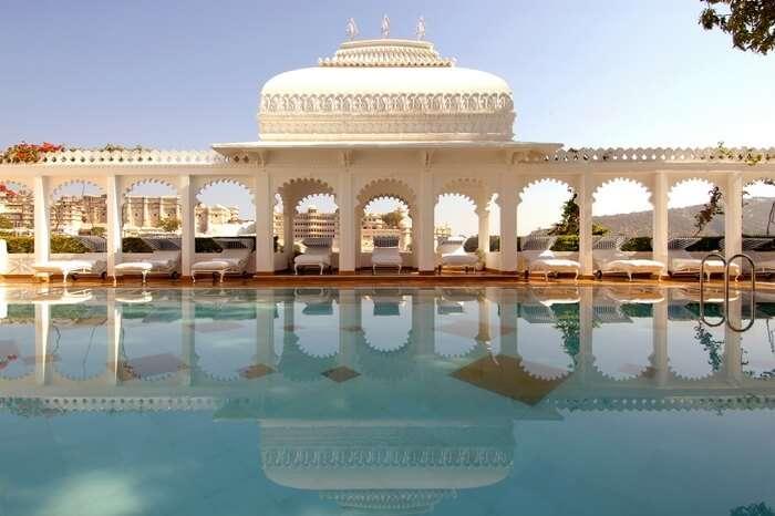 The Taj Lake Palace located by lake Pichola in Udaipur