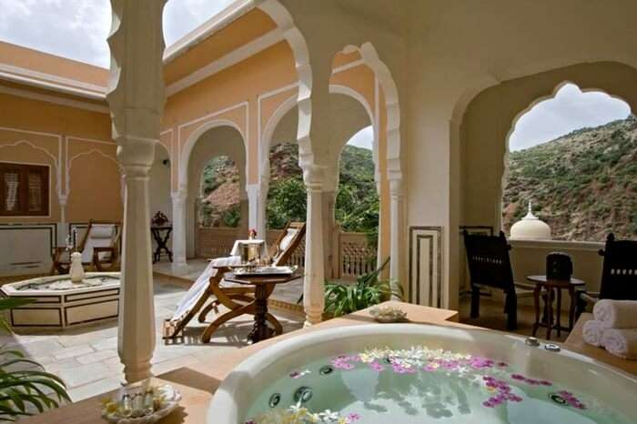 Open roof relaxing area at Samode Palace in Jaipur