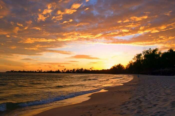 A bright sky before the sunset at Koh Thmei island in Cambodia