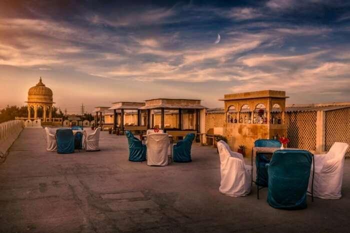 Rooftop seating arrangement at Fort Rajwada in Jaisalmer