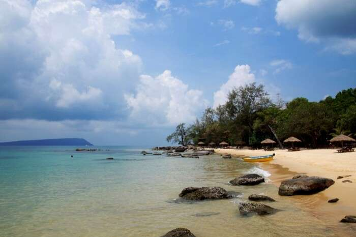 Perfect view of a beach at Koh Rong island with blue sky making the backdrop