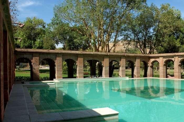Swimming pool at Balsamand Lake palace in Jodhpur