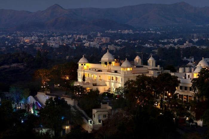 Lalit Laxmi Vilas Palace in Udaipur at dusk