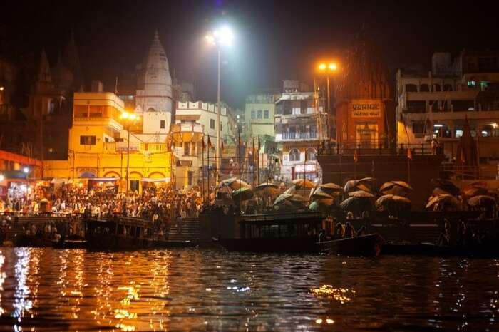 Dashashwamedh Ghat at night