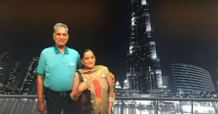 Anand and his wife on his trip to Dubai