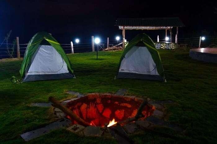 A night shot of a beautiful camp resort in Kanakpura