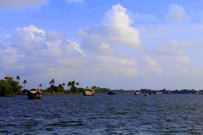 Houseboat ride in backwaters in Kerala
