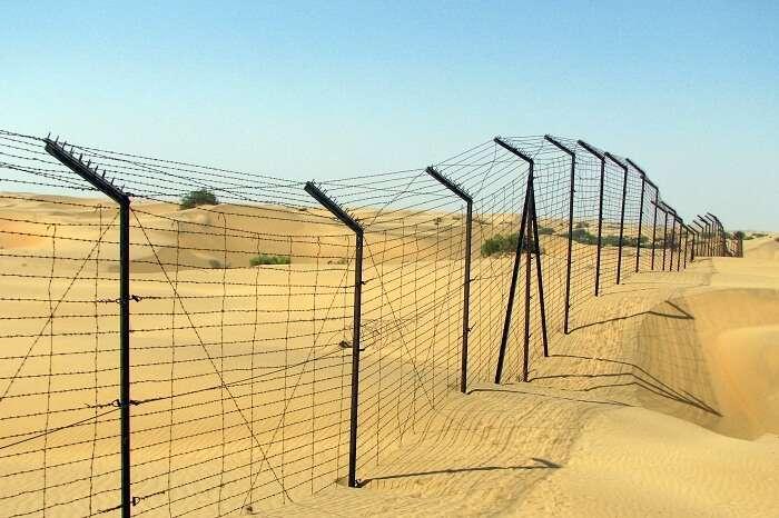A shot of the Indo-Pak border in the Thar desert at Jaisalmer