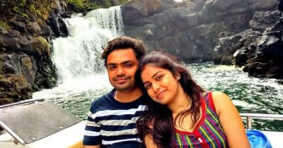 Sagar and his wife on a romantic trip to Mauritius