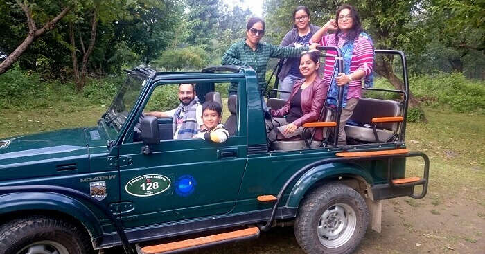 Sneh with friends posing for a photo during tiger safari in Corbett