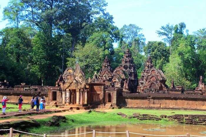Tourists doing sightseeing in Cambodia