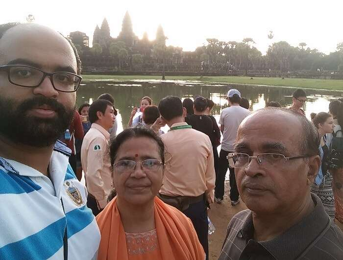 Avijit clicks a selfie with his parents in Cambodia