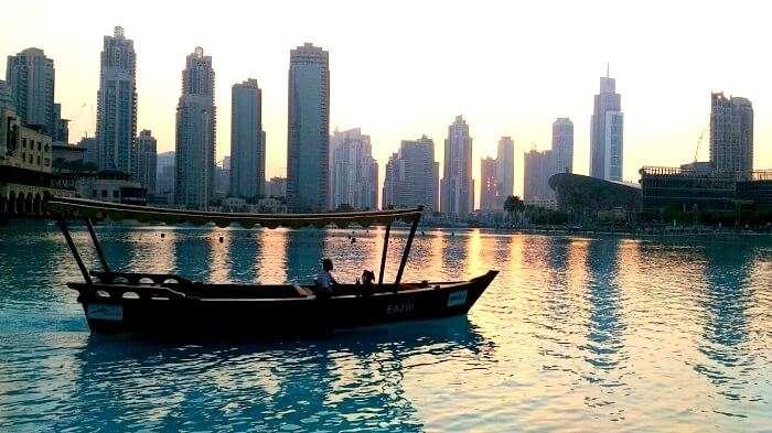 A beautiful sunset on the Dubai Harbor
