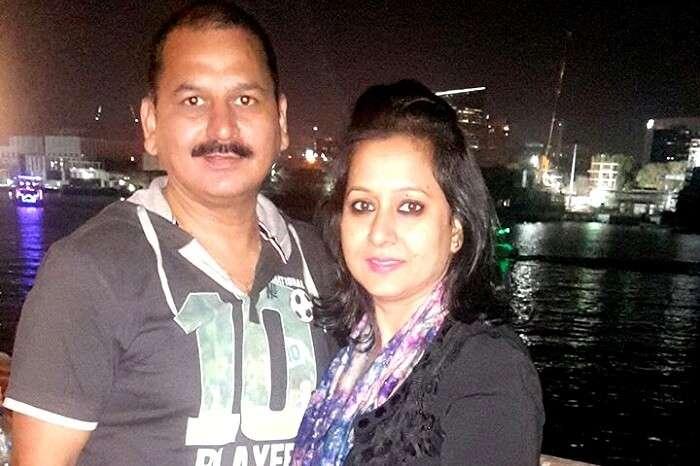 A couple enjoying a romantic evening on a cruise