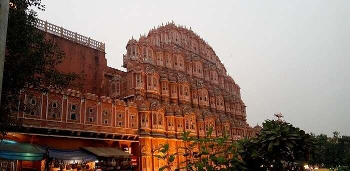 View of the Hawa Mahal in Jaipur