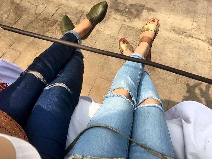 Regina and her friend chill in Jaipur