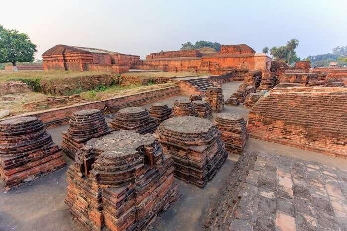 The ruins of Nalanda Mahavihara at the Nalanda University excavation site