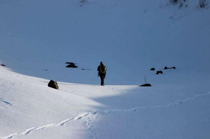A traveler on his way to Prashar Lake