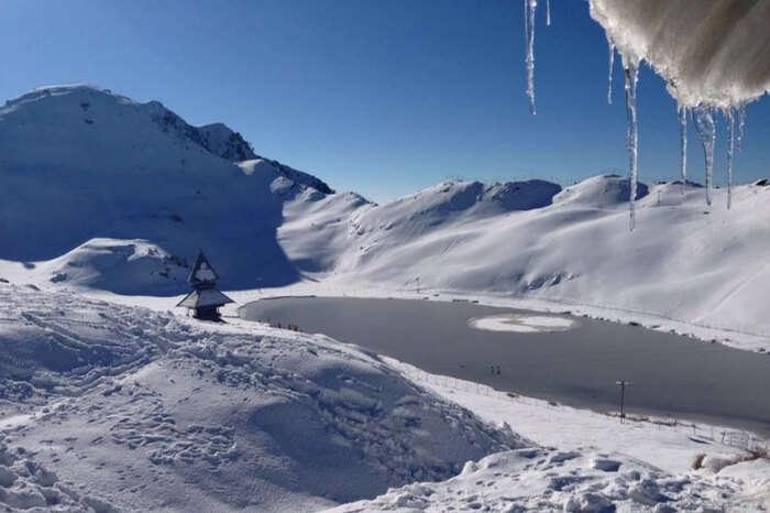 A view of frozen Prashar Lake in winter