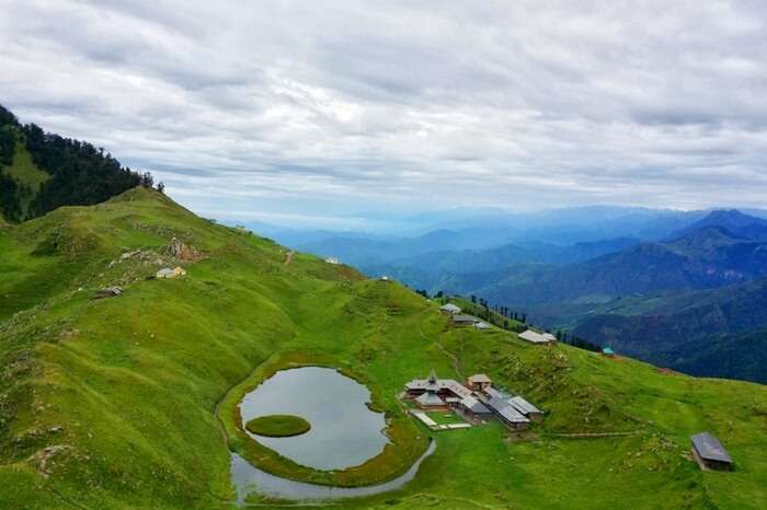 An aerial view of Prashar Lake and the adjoining campsite