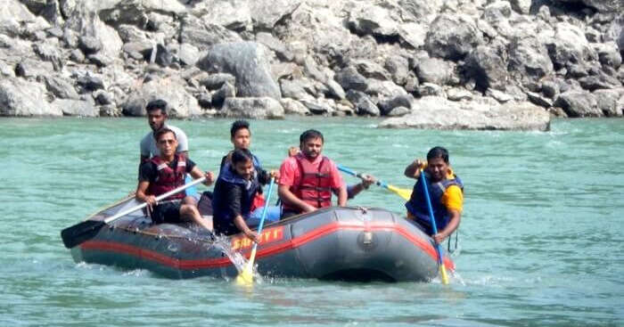Arunav and his friends rafting in a river in Sikkim