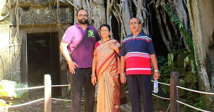 Avijit with his family on a trip to Cambodia