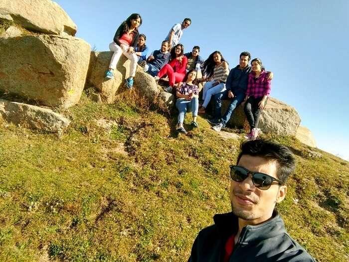 A group clicks a selfie in Khajjiar