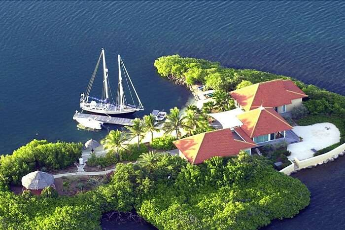 Aerial view of the Isla Kiniw in Curaçao