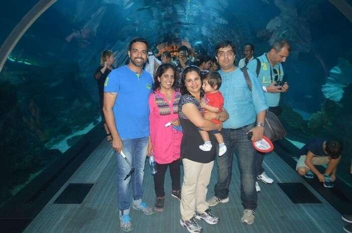 Family enjoying at aquarium in Dubai
